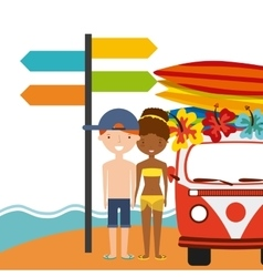 Surf board couple cartoon and truck icon summer vector