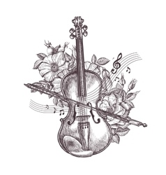 Vintage fiddle hand-drawn retro the violin and vector