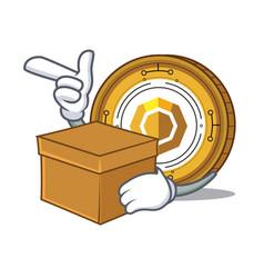 With box komodo coin character cartoon vector