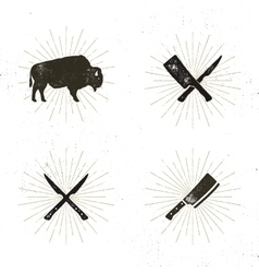 Set of steak house butcher house and meat tools - vector