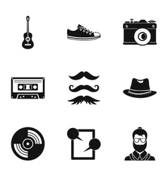 Hipster culture icons set simple style vector