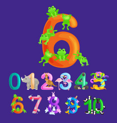 Ordinal numbers six for teaching children counting vector