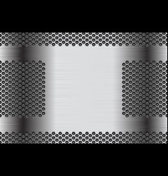 Metal perforated background stainless steel vector