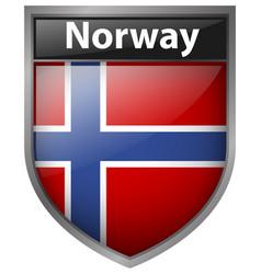 Norway flag on badge design vector