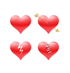 set of red valentine hearts vector image