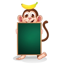 A monkey with a banana on his head holding an vector image