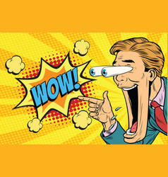 hyper expressive reaction cartoon wow man face vector image