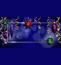 christmas frame banner template ball fir toys vector image