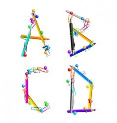 Alphabet office supplies abcd vector image