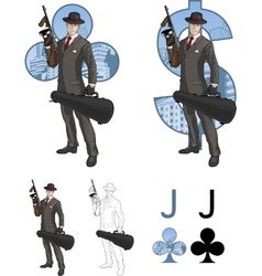 Jack of clubs mafioso with tommy-gun mafia card vector