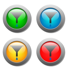 Funnel icon with drops set on glass buttons vector