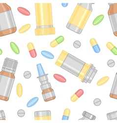 Colored pills and drugs in seamless pattern vector