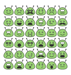 Set of space aliens icons with different emotions vector