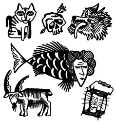 Animals and lamp vector