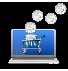 Money in shopping cart on laptop screen vector