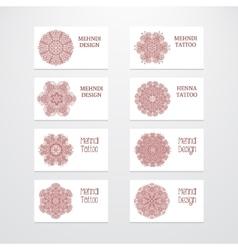 Set of business card templates mehndi design vector