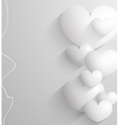 Valentines day abstract paper 3d hearts card vector