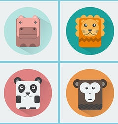 Wild animals icons set vector