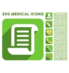 Paper roll icon and medical longshadow icon set vector