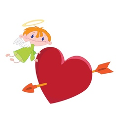 angel boy and heart vector image