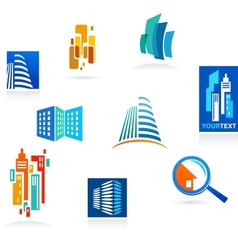 Collection of real estate icons and elements vector