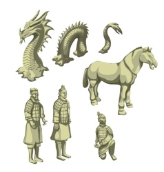 Figures of samurai horse and serpent big set vector