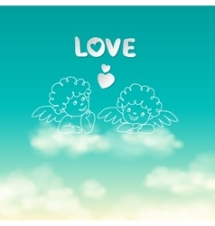 Two angels on a cloud love word and heart sunny vector image
