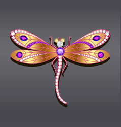A dragonfly brooch made of gold with precious vector