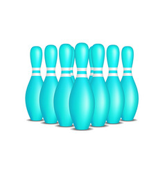 Bowling pins in turquoise design with white stripe vector