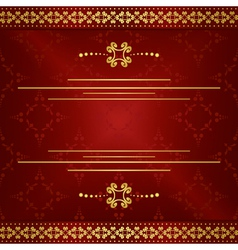 bright dark red elegant card with gold decor vector image