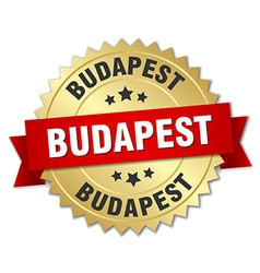 Budapest round golden badge with red ribbon vector