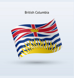 Canadian province of british columbia flag waving vector