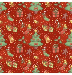 Christmas pattern with confetti vector image