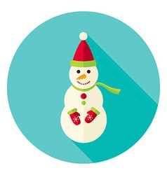 Flat design snowman with scarf circle icon vector