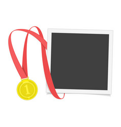 Frame with gold medal vector