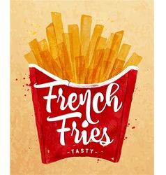 French fies kraft vector image vector image