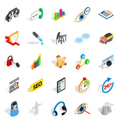 Future icons set isometric style vector