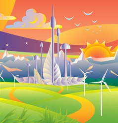 futuristic city vector image