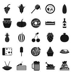 Gastronomic pleasure icons set simple style vector