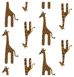 Giraffe cute seamless pattern Safari vector image