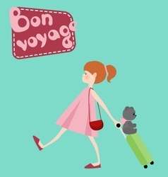 Girl with suitcase toy bear and bon voyage vector