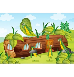 Grasshoppers and a house vector image vector image