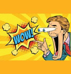 Hyper expressive reaction cartoon wow man face vector