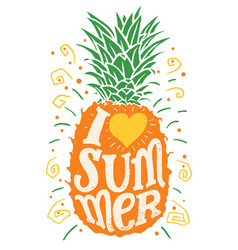 i love summer hand drawing typography vector image
