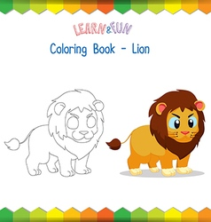 Lion coloring book educational game vector image vector image