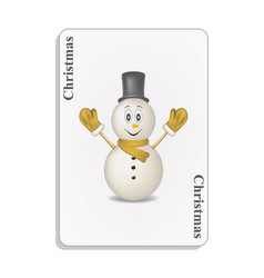 Playing card with smiling snowman vector