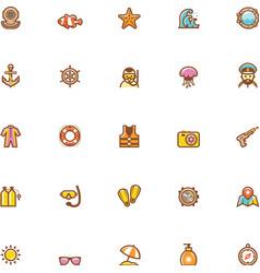 Sea vacations icon set vector