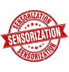 sensorization round grunge ribbon stamp vector image vector image