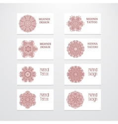 Set of business card templates mehndi design vector