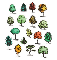 Set of hand drawn colorful trees ink style vector